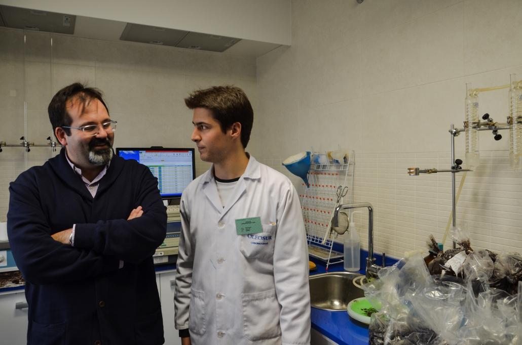 Manuel Luque explicando como se mide el rendimiento de la aceituna